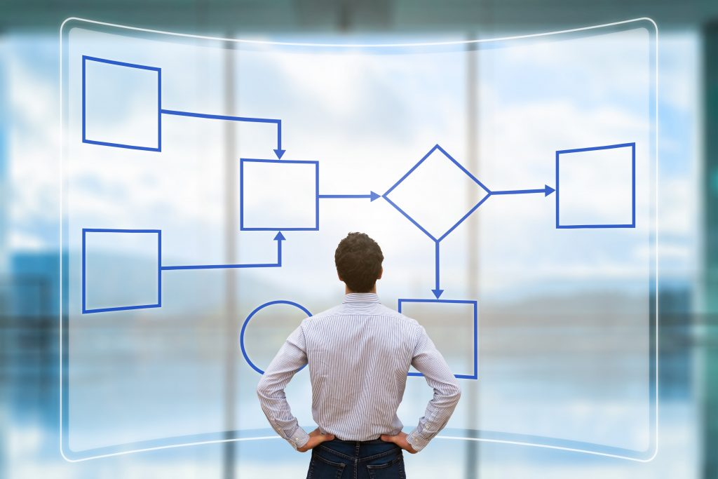 Man standing in front of holographic display showing flow charts. Representing a client using the Inpensa Business Case Management Software/Product