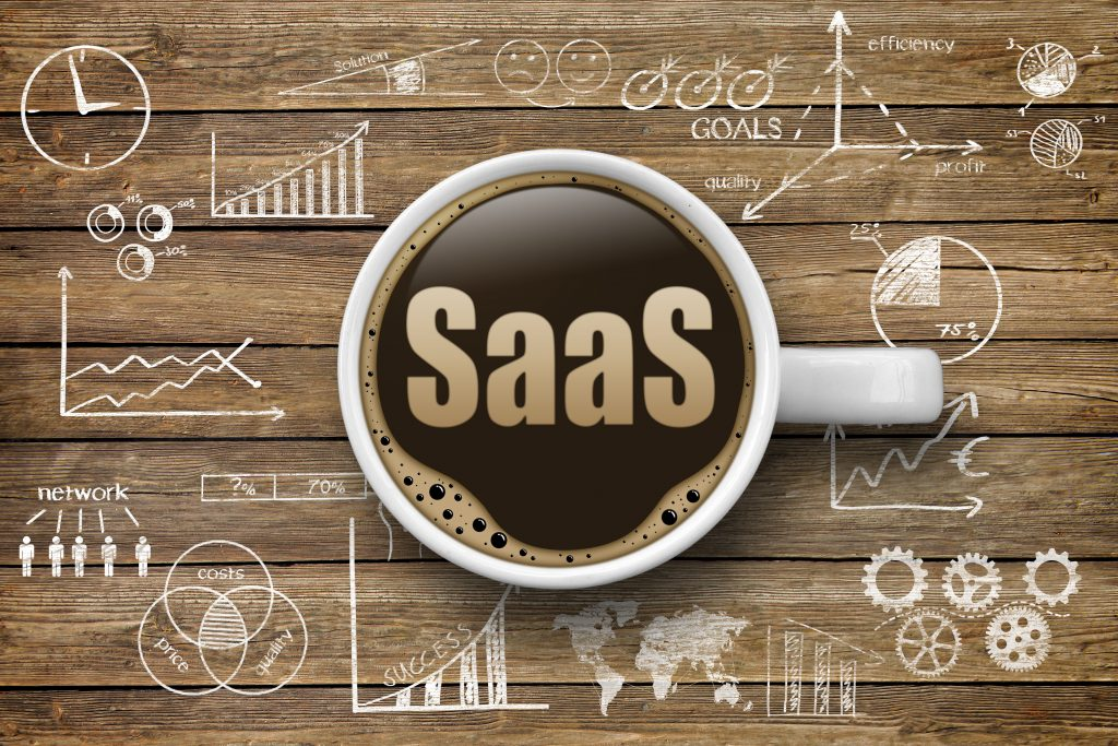 a cup of coffee with the word SaaS written in the middle